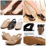 (Pre Order) รองเท้าแฟชั่นเกาหลี ตกแต่งลายสาน ส้นเตารีด สไตล์เรียบหรู (สีดำ/สีขาว/สีครีม)