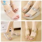 (Pre Order) รองเท้าแฟชั่นเกาหลี ตกแต่งกากเพชรวิบวับ สายรัดข้อเท้า สไตล์หวาน (สีดำ/สีชมพู/สีครีม/สีเงิน/สีทอง)