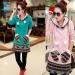 (Pre Order) เสื้อกันหนาวเกาหลี แบบยาว ตกแต่งกระเป๋าด้านหน้ารูปถุงมือ สไตล์ฤดูใบไม้ร่วง (สีชมพู / สีเขียว)