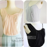 FINAL SALE  40%  COMBINED PLEATED CAMISOLE TOP ( 3 Colors)