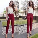 สี แดง / ครีม set 2 ชิ้น เสื้อผ้าลูกไม้+กางเกงเข้ารูปสีพื้น ขนาด เสื้อ รอบอก 32-36 นิ้ว กางเกงเอวยืด 23-29 นิ้ว สะโพก 33-36 นิ้ว ความยาวกางเกง 38 นิ้ว