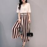 แฟชั่นเกาหลี set เสื้อและกางเกงขายาวสวยมากๆ ครับ เสื้อผ้าชีฟองชนิดหนา สีครีม คอวี ชายปล่อย