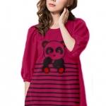 เสื้อยืดแฟชั่น ตัวยาว แขนกึ่งบอลลูน ผ้านุ่ม ลาย Little Panda สีชมพูบานเย็น