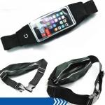 กระเป๋าแบบคาดเอวแนวสปอร์ต สำหรับไอโฟน และแอนดรอยด์ หน้าจอไม่เกิน 5.5 สีดำ