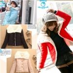 (Pre Order) เสื้อกันหนาว แฟชั่นเกาหลี กระดุมด้านหน้า กระเป๋าข้าง ผ้าฝ้ายด้านใน สไตล์พร็อพ (สีชมพู / สีดำ / สีฟ้า / สีแดง)