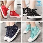 (Pre Order) รองเท้าผ้าใบ แฟชั่นเกาหลี ทรงสูง ตกแต่งลายโบว์น่ารัก (สีดำ/สีแดง/สีน้ำเงิน/สีเขียว)
