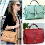 (Pre Order) กระเป๋าสะพาย แฟชั่นเกาหลี สีสันสดใส สไตล์ย้อนยุค (สีแอปริคอท / สีเขียว / สีแดง / สีฟ้า)