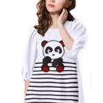 เสื้อยืดแฟชั่น ตัวยาว แขนกึ่งบอลลูน ผ้านุ่ม ลาย Little Panda สีขาว