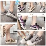 (Pre Order) รองเท้าผ้าใบ แฟชั่นเกาหลี ลายพราง (สีดำ/สีเหลือง/สีเทา)
