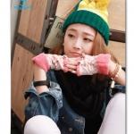 (Pre Order) ถุงมือแฟชั่นเกาหลี แบบเปิดปลายนิ้ว ผ้าขนสัตว์ พิมพ์ลายดอกไม้ สไตล์หวาน (สีน้ำตาล/สีชมพู/สีเทา)