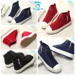 (Pre Order) รองเท้าผ้าใบ ทรงสูง แฟชั่นเกาหลี ขอบข้างสีขาว แต่งซิปข้าง (สีขาว/สีดำ/สีน้ำเงิน/สีแดง)