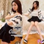 """CCute Doll Black & White Setเซ็ต 2 ชิ้น เสื้อแขนสั้นแต่งระบาย เป็นชั้นๆ ผ้าไหมอิตาลีกับกระโปรงทรงสวยผ้าฮายาโก๊ะ Mix & Match ได้หลายสไตล์ค่ะ ใส่ได้ทุกโอกาสเลยนะคะ ขนาด = (เสื้อ) อก 33-36"""" / ยาว 2 เอว 25-29 / สะโพก 34-36"""" / ยาว 20"""" สี: 1 สี"""