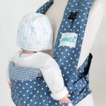 เป้อุ้มเด็กสไตล์ญี่ปุ่น ผ้าคอตต้อนญี่ปุ่น สีฟ้าลายจุด
