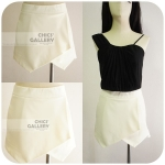 "FINAL SALE 50% OFF-WHITE CULOTTE WITH LAYERED  FRONT ""STYLE ZARA"" *เหลือไซส์ M"