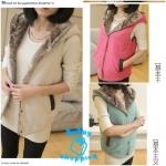 (Pre Order) เสื้อกั๊กกันหนาว กระดุมด้านหน้า หมวกด้านหลัง ผ้าขนสัตว์ด้านใน สไตล์เกาหลี (สีเขียว / สีขาว / สีกากี / สีส้ม / สีชมพู / สีน้ำเงิน / สีเหลือง)