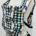 เป้อุ้มเด็ก punnita  Backpack สีน้ำเงินลายสก็อต ลายญี่ปุ่นๆ สวย