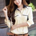 เสื้อทำงาน เสื้อแฟชั่น เสื้อเกาหลี เสื้อแขนยาว คอปก กระดุมหน้า กระเป๋าหน้า เสื้อสีครีม สวยมากๆ (พร้อมส่ง)