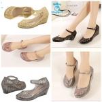 (Pre Order) รองเท้า แฟชั่นเกาหลี ลายเลื่อมกากเพชรวิบวับ สไตล์เจ้าหญิง (สีดำ/สีชมพู/สีเงิน/สีทอง)