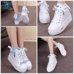 (Pre Order) รองเท้าแพลตฟอร์ม ส้นสูง แฟชั่นเกาหลี สไตล์หวาน แต่งซิปข้าง (สีฟ้า / สีขาว)