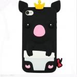 เคส iphone 4/4S ซิลิโคน รูปหมู สีดำ พร้อมส่ง