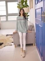 KR037 (เกาหลี) เสื้อคลุมท้องให้นมแขนยาว ผ้ายืดเนื้อดี นุ่มมาก ไม่หนามาก ลาย Paradise มี 3 สี เทาเข้ม เทา มินท์