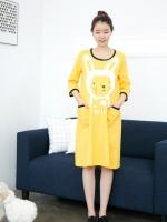 KR032 (เกาหลี)เสื้อคลุมท้อง ผ้ายืด แขน 4 ส่วน ตัวยาว ใส่เป็นเสื้อ หรือเดรสได้ ลายน้องกระต่ายน่ารัก 4 สี เหลือง เขียว ไวน์ ชมพู