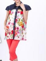 CN076(จีน)เสื้อคลุมท้องให้นม กระดุมหน้า ช่วงบนผ้ายีนส์ ช่วงล่างผ้าค้อตต้อน ไม่หนา ลายดอกไม้สีแดงใส่สบายๆ