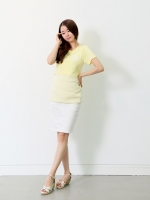 (เกาหลี)  เสื้อให้นมทรงเข้ารูปแบบสายเดี่ยวด้านใน แต่งกระเป๋าที่หน้าอก แบรนด์ Drama ผ้านิ่ม ใส่สวยมากกจ้า
