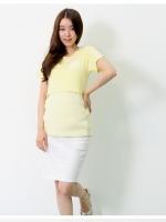 KR025 (เกาหลี) เสื้อให้นม ผ้ายืด เหมือนซ้อนสองตัว สีหวาน ผ้านุ่มมากๆ ทรงเข้ารูป มี 2 สี ส้ม ชมพู