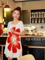 CN003(จีน) เสื้อคลุมท้อง ผ้ายืด ลายดอกไม้สีแดง มีเชื่อกรูดปรับปรับละดับได้ เก๋ไก๋ไม่เหมือนใคร