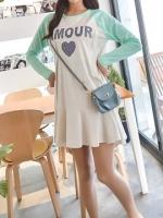 KR023 (เกาหลี) เสื้อคลุมท้องให้นม ผ้านิ่มไม่หนาใส่ได้กับอากาศเมืองไทย ชายเสื้อบานเพิ่มความน่ารักจะใส่เป็นเสื้อหรือเดรสก็ดูดี สรีนลาย AMOUR มี 2 สี ชมพู,มิ้นท์