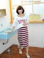 CN150 (จีน)ชุดคลุมท้องให้นม:bx:jvo เสื้อ+เดรส ตัวในเป็นผ้ายืด เนื้อนุ่ม ลายขวางแดงขาว ตัวนอกเป็นผ้ายืดลาย SMILE