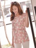 KR021 (เกาหลี) เสื้อให้นมทรงเข้ารูป ผ้ายืดเนื้อดีมากนุ่มยืดหยุ่นดี ลายกุหลาบสีชมพูหวาน ดูดีมากมาย