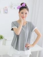 CN028(จีน)เสื้อคลุมท้องให้นม ตัวนอกสีเทาเป็นผ้ายืด เนื้อหนาปานกลาง ตัวในเป็นผ้าชีฟองอย่างดี ผ่าให้นมตรงกลาง ใส่ต่อได้หลังคลอดใส่ได้กับกางเกงหรือกระโปรง