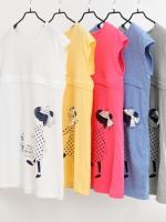 KR021 (เกาหลี) เสื้อให้นม ผ้ายืด แขนเต่อ ลายผู้หญิงติดโบว์ มี 3 สี เหลือง ฟ้า ชมพู