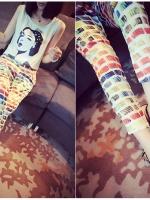 (จีน) กางเกงคนท้อง ผ้า CHIFFON สีขาวลาย COLORFUL เอวมีสายหรูดปรับระดับ ไม่ซ้ำใครแน่นอน