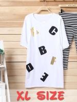 XL144(จีน)เสื้อคลุมท้องให้นม ผ้ายืด เนื้อหนา นุ่มละเอียด สีขาวสกรีนลายอักษรABCเรียบๆแต่ดูดีมากๆ (เฉพาะเสื้อ)