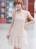 ++ New ชุดเดรสเกาหลี Brand Ai Fei++ ชุดเดรสสั้น ตัวชุดผ้าถักโครเชต์สีครีม ซับในด้วยผ้าไหม กระโปรงผ้าโปร่ง