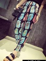 (จีน) กางเกงคนท้อง ผ้าผสมสแปนเด็กซ์ สีดำลาย COLORFUL เอวมีสายหรูดปรับระดับ ไม่ซ้ำใครแน่นอน