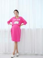 KR033 (เกาหลี)ชุดคลุมท้องให้นม ลายน้องแมว ผ้ายืด ใส่สบายมาก สีชมพูหวาน