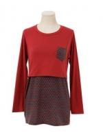 KR026 (เกาหลี) เสื้อคลุมท้องให้นม แขนยาว ผ้าหนาปานกลาง ลายน้องแมวเล็กๆน่ารักมาก มี 2 สี ดำ แดง
