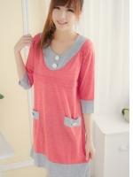 CN141(จีน)เสื้อคลุมท้องให้นม แนววัยรุ่น ผ้ายืดไม่หนาไม่บาง แขนสี่ส่วน เป็นได้ทั้งเดรสหรือเสื้อ สีชมพูหวานสดใส