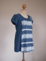 (ฮ่องกง) เสื้อคลุมท้องให้นม เป็นผ้ายืดสีน้ำเงินอมฟ้า สกรีนลายลูกไม้สลับจุดขาว ประดับด้วยเข็มกลัดลูกไม้ เข้ากับลายเสื้อเป๊ะ