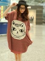 CN175(จีน)เสื้อคลุมท้อง ผ้าดีมาก นิ่มหนาปานกลาง ทรงสวย ลายน้องแมวน่ารักมากๆ มี 2สี แดง,ดำ