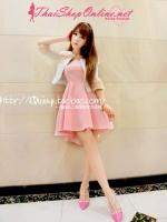 ++แฟชั่นเกาหลี ชุดเดรสสั้น สีชมพู สดใส เหมาะแก่สาวๆวัยใสทุกคน แถมยังราคาถูก เลือกช็อปได้แบบสบายใจ
