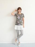 KR034 (เกาหลี) เสื้อให้นม ผ้ายืด ผ้าสวยมาก นิ่ม ลายดอกไม้ มี 2 สี ครีม ดำ