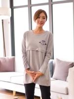 KR035 (เกาหลี) เสื้อคลุมท้องให้นม แขนยาวผ้ายืด ผ้าเนื้อละเอียด นุ่ม ไม่ระคายผิว ด้านหลังติดปีกนางฟ้าจ้า มี 2 สี เทา เหลือง