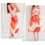 ชุดเดรสแฟชั่น ผ้าคอตตอนทอ โทนสีส้มแดง แขนกุด คอวี เดรสเข้ารูปช่วงเอว thumbnail 5