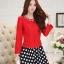 แฟชั่นเกาหลี set เสื้อสูท สีแดง และกระโปรง สวยมากๆ thumbnail 3