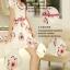 ชุดเดรสสั้น แฟชั่นเกาหลี ผ้า organza ทอลายขาวและดอกไม้สีชมพู แขนเสื้อทรงซ้อนไขว้ พร้อมเข็มขัดเหมือนแบบ thumbnail 4